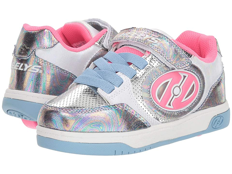 Heelys Plus X2 Lighted (Little Kid/Big Kid) (Blue/Hologram/Fuchsia) Girls Shoes