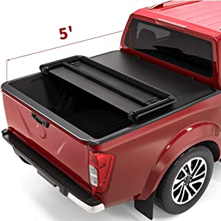 oEdRo Tri-Fold Truck Bed Tonneau Cover Compatible with 2005-2021 Nissan Frontier 5 Feet..