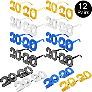 2020 Eyeglasses Glitter 2020 Number Glasses New Year Fun Eyewear Novelty Glasses for 2020 New Year Party Favors Grad Party Supplies (Color Set 2, 12 Pairs)