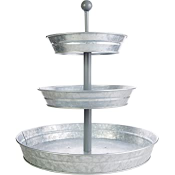 """3 Tier Serving Tray (Large 17"""" Base) Rustic, Decorative Galvanized Metal   Home Farmhouse Décor   Coffee, Margarita Bar, Party Appetizers, Cupcake Stand   Indoor, Outdoor Use   Bison Home Goods"""