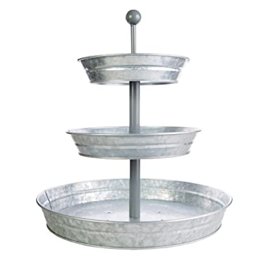3 Tier Serving Tray (Large 17  Base) Rustic, Decorative Galvanized Metal   Home Farmhouse Décor   Coffee, Margarita Bar, Party Appetizers, Cupcake Stand   Indoor, Outdoor Use   Bison Home Goods