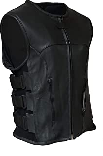 IKLeather Swat Style Leather Vest Mens Motorcycle Biker Tactical Black Stretch (XXL)