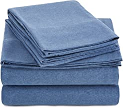 AmazonBasics Heather Jersey Sheet Set - (Includes 1 bedsheet, 1 Fitted Sheet with Elastic, 2 Pillow Covers, King, Chambray)