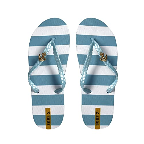8c07e3f595dea9 Peach Couture Womens Striped Nautical Anchor Strappy Sandals Flats Flip  Flops
