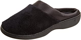 ISOTONER Women's Signature Microterry Pillowstep Satin Cuff Clog Slippers, Black,5.5/6