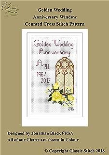 Golden Wedding Anniversary Window Cross Stitch Pattern