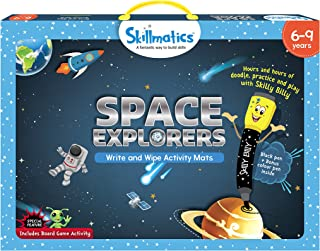 Skillmatics Educational Game: Space Explorers (6-9 Years) | Erasable and Reusable Activity Mats with 2 Dry Erase Markers | Learning Tools for Boys and Girls 6, 7, 8, 9 Years
