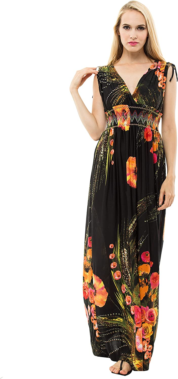 1stvital Women's Floral Print Deep VNeck Flowy Summer Dress Beach Party Maxi Dress
