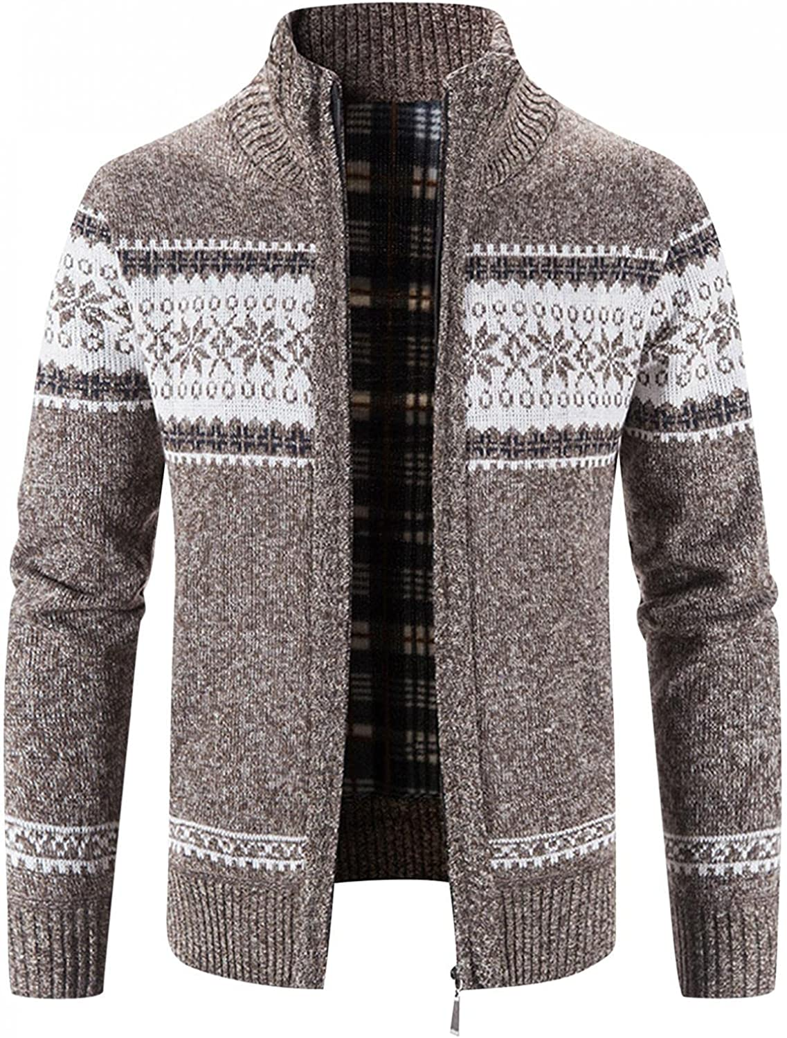 Huangse Mens Knit Cardigan Sweater Patterned Cable Knit Zip Up Closure Stand Collar Winter Jacket Outerwear