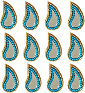 Pack of 12 - Yuktha Eternals Mango Design Mirror with Beads Patches for Lehenga/Blouse/Ethnic Wear/dupattas/Gift Decoration & Craft Works (Sky Blue)