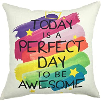YOUR SMILE Perfect Day Cotton Linen Square Decorative Throw Pillow Case Cushion Cover 18x18 Inch(45CM45CM) (YS050609)