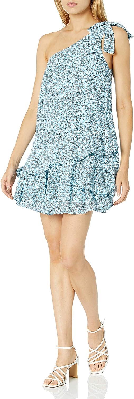 findersKEEPERS Women's Sleeveless One Shoulder Ruffle Tiered Hem Blossom Mini Dress