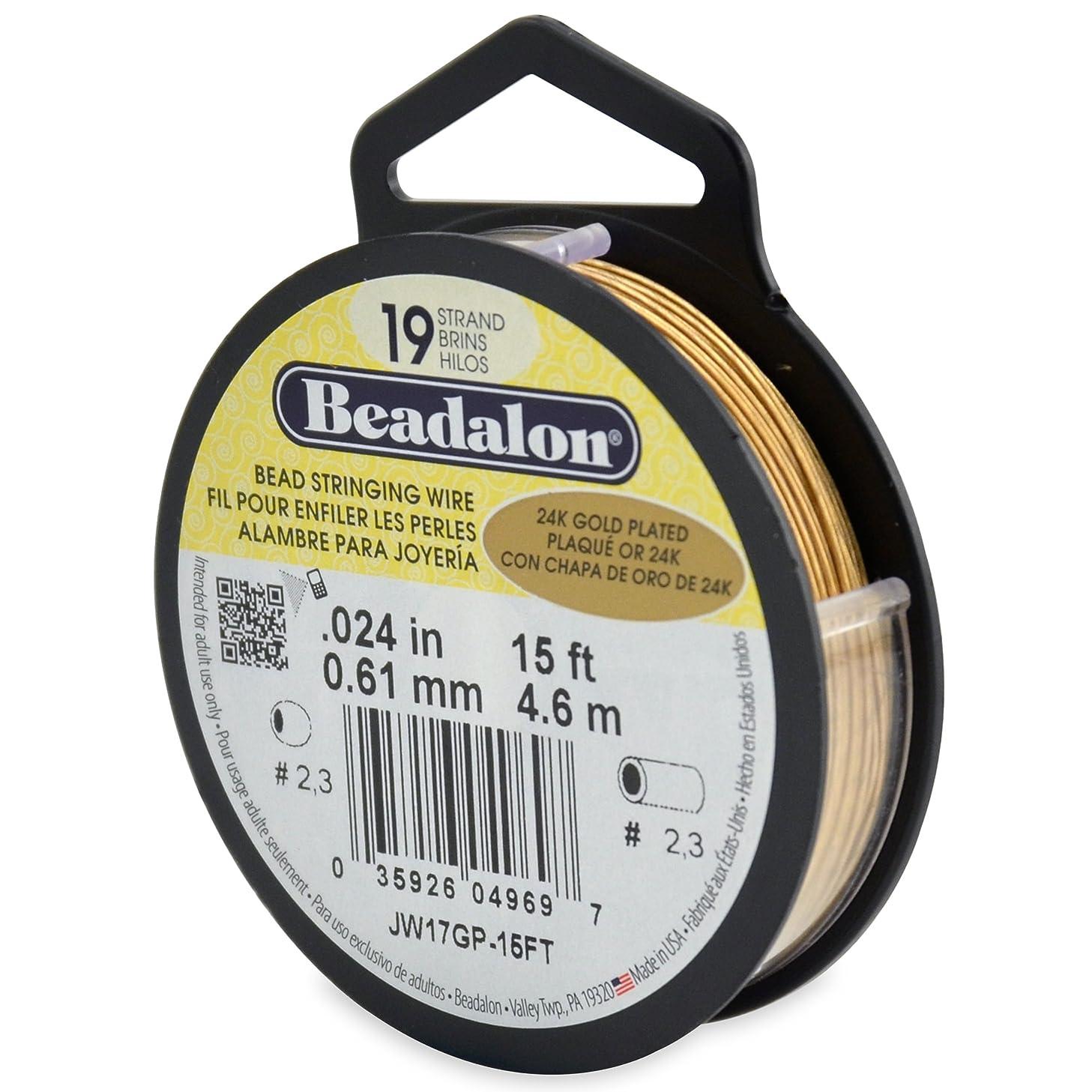 Beadalon 19-Strand Bead Stringing Wire, 0.024-Inch, Gold Plated, 15-Feet