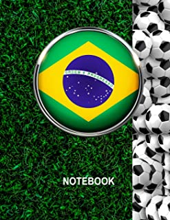 Notebook. Brazil Flag And Soccer Balls Cover. For Soccer Fans. Blank Lined Planner Journal Diary.