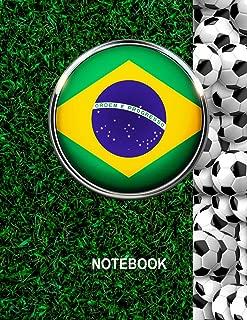 Notebook. Brazil Flag And Soccer Balls Cover. For Soccer Fans. Blank Lined Planner Journal Diary.