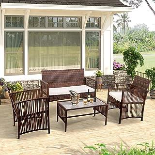 Merax 4-Piece Patio Furniture Set Outdoor Garden Lawn...