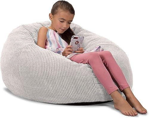 Lounge Pug, CloudSac 200 Kinder, Riesen Memory-Schaum Kinder Sitzsack, Pom-Pom Creme