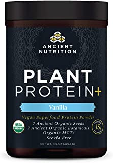 Plant Protein+, Plant Based Protein Powder, Vanilla, Formulated by Dr. Josh Axe, Fusion of Organic Seeds & Botanicals Brin...
