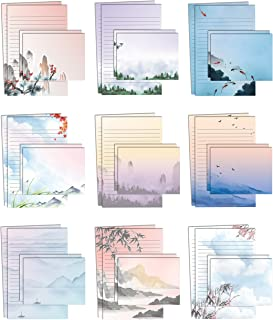 Mini Stationery Set of 100, Japanese Stationery Paper (50 Lined Sheets + 50 Matching Envelopes), 5.5 x 8.25 inch, 9 Design...