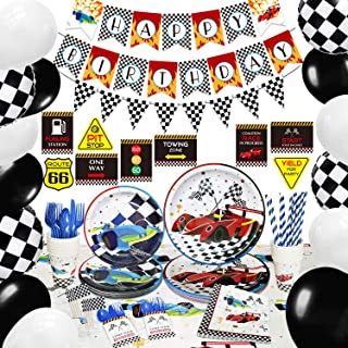 لوازم مهمانی تولد اتومبیل مسابقه ای NAIWOXI - تزیین مهمانی جشن اتومبیل برای پسران بنر سفره سفره سفره اتومبیل بشقاب دستمال جام بادکنک کیک کیک بالابر کیسه های کارد و چنگال توت فرنگی ظروف ظروف غذاخوری 16 میهمان 224 عدد