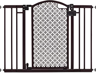 Summer Modern Home Decorative Walk-Thru Baby Gate, Metal with Bronze Finish, Decorative Arched...