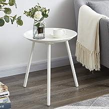 طاولة مستديرة من EKNITEY، طاولة جانبية معدنية، طاولة قهوة صغيرة، منضدة لغرفة المعيشة، غرفة النوم، المكتب، سهلة التجميع (أبيض)