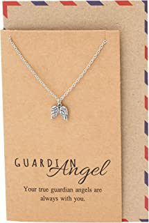 Guardian Angel Necklace with Greeting Card, for Women