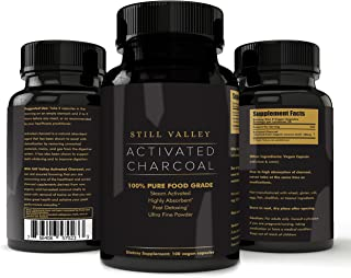 Activated Charcoal Supplement Vegan Capsules: Made from Organic Coconut Shells for Gas Relief, Bloating, Teeth Whitening - Steam Activated, Highly Absorbent, Fine Powder Food Grade Pills - 100 Tablets