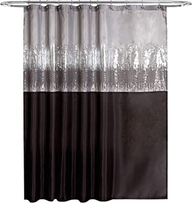 Lush Decor 1 Night Sky Shower Curtain Sequin Fabric Shimmery Color Block Design For Bathroom X 72 Black And Gray Home Kitchen