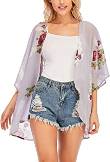 Zando Floral Kimonos للنساء ملابس السباحة تغطية مفتوحة الجبهة الصيف قمم سترة نصف كم شالات شفافة وملفوفة
