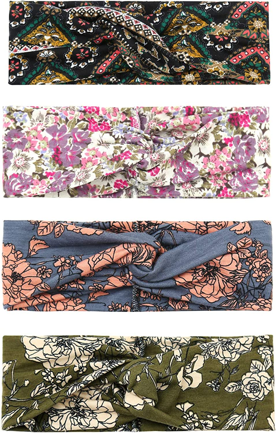 Briefly 4 Pack Women Headband Boho Floal Style Criss Cross Twisted Cute Hair Band Accessories