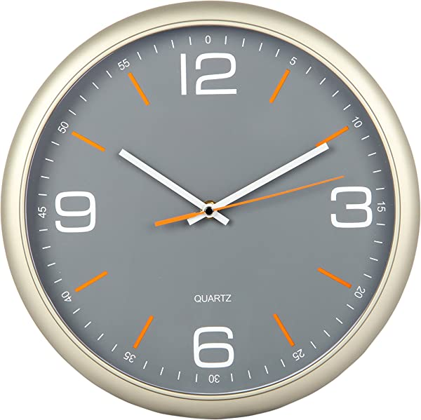 Tempus Contemporary Wall Clock With Silent Sweep Quiet Movement 11 8 Gray