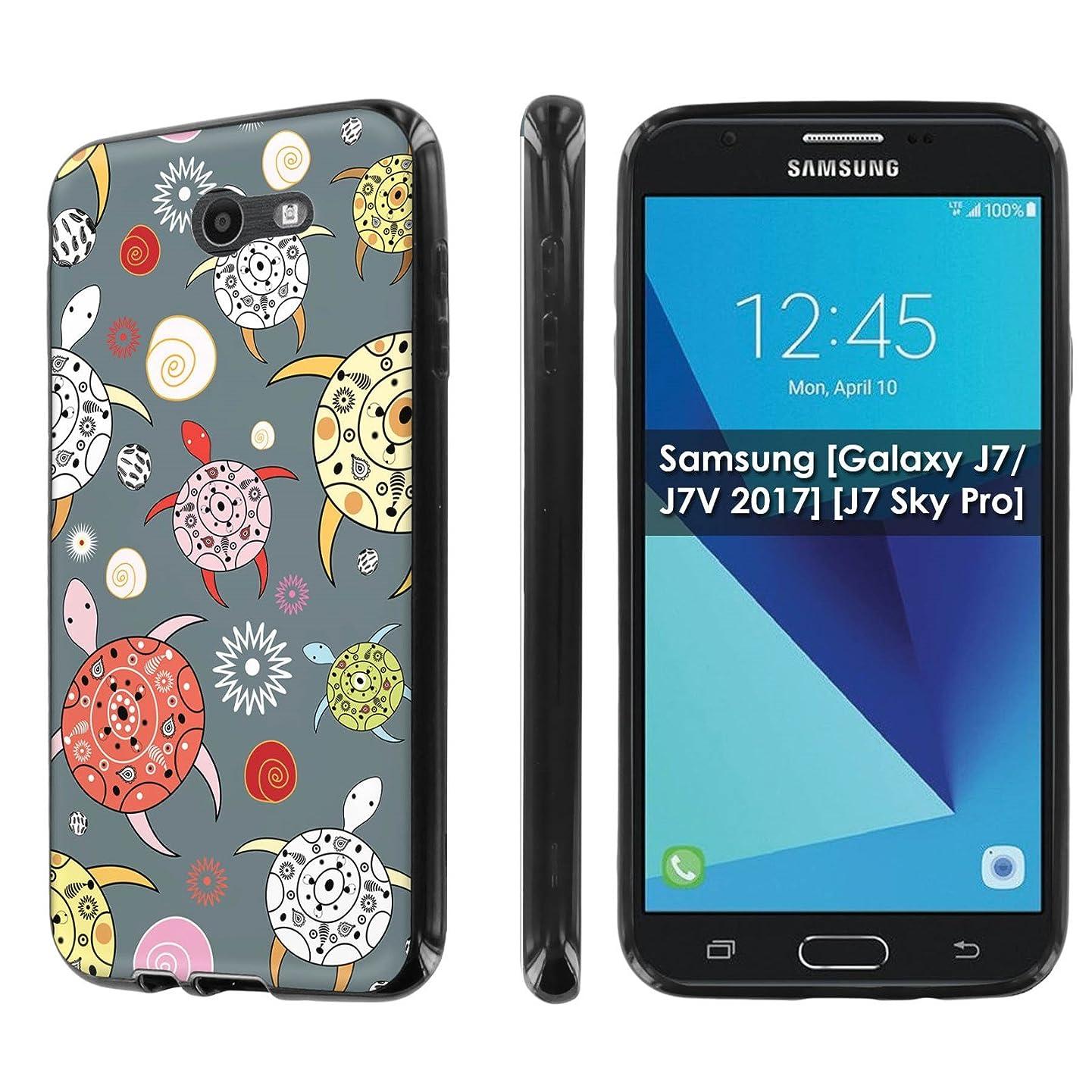 Samsung [Galaxy J7/J7V 2017] [J7 Sky Pro] [NakedShield] [Black] Ultra Slim Cover Case [Screen Protector] - [Pattern Sea Turtle] for Galaxy J7 [2017]