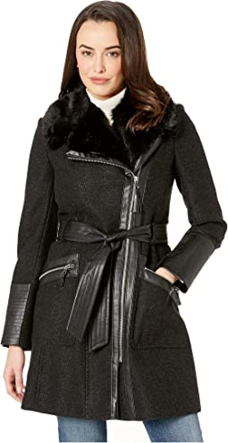 90cdff0a472 Jessica simpson wool coat with faux fur collar