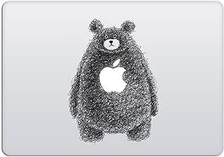 Laptop Stickers MacBook Decal - Removable Vinyl w/Glowing Apple Logo Diecut - Animal Bear Decal Doodle Black Sticker Skin for MacBook Air Pro 13 15 inch Mac Retina Best Decorative Sticker by Artsybb