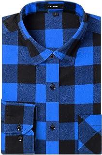 Sponsored Ad - Leonal Men's Dress Long Sleeve Buffalo Plaid Checked Flannel Shirt