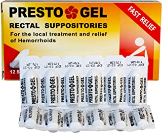 DAN Pharm Presto Gel Rectal Suppositories Fro The Local Treatment and Relief of Hemorrhoids 12 Suppositories