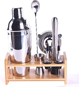Shelline 8 Piece Bar Tool Set with Stylish Bamboo Stander, Mixed Drink Perfect Home Bartending Kit Martini Cocktail Shakers Set for Drink Mixing Stainless Steel Dishwasher Safe Barware Accessories