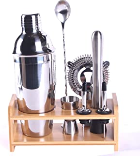 Shelline 8 Piece Bar Tool Set with Stylish Bamboo Stander, Perfect Home Bartending Kit With Carry Bag Martini Cocktail Sha...