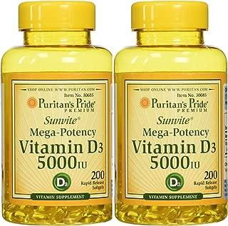 Puritan's Pride Vitamin D3 5000 IU, 200 Softgels (2 Pack)
