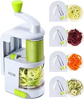 Spiralizer Vegetable Slicer (4-in-1 Rotating Blades) Heavy Duty Veggie Spiralizer with Strong Suction Cup, Zucchini Spiral Noodle/Zoodle/Spaghetti/Pasta Maker (Recipe Book and Cleaning Brush)
