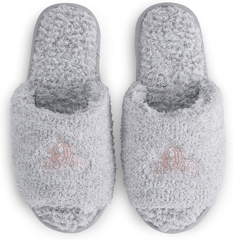Barefoot Dreams CozyChic Disney Princess Women's Slipper-Open-Back House Slippers, Comfy Womens House Slipper, Slide-On House Slipper, Memory Foam Padding-HE Gray,L