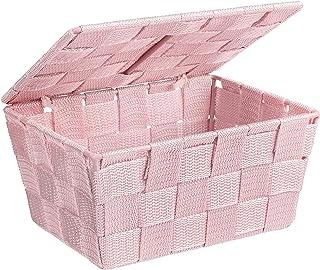 WENKO Panier de salle de bains Adria avec couvercle rose - Panier de salle de bain avec couvercle, Polypropylène, 19 x 10 ...