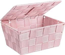 WENKO Kosz do przechowywania z pokrywką Adria Rosa – kosz łazienkowy z pokrywką, polipropylen, 19 x 10 x 14 cm, różowy