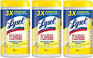Household Cleaning Wipes Lemon and Lime Scented, 3 Tubs of 80 Wet Wipes - 240 Total Wipes