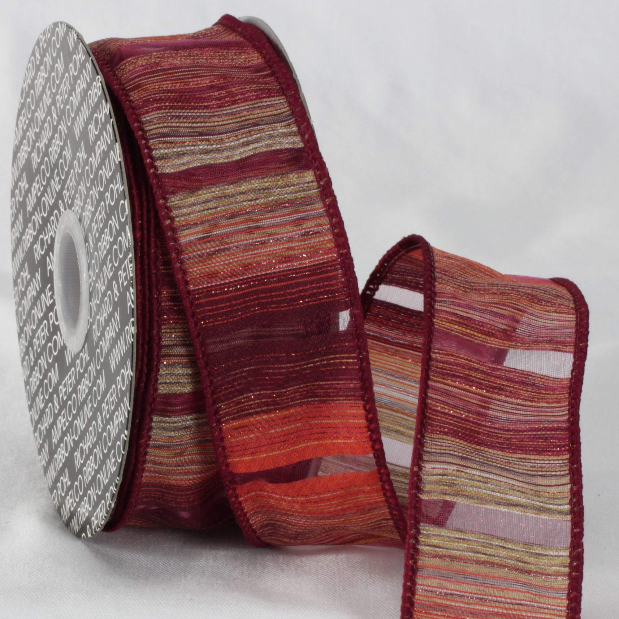 Amazon Com Red And Gray Diagonal Stripe Wired Edge Craft Ribbon 1 5 X 20 Yards Furniture Decor