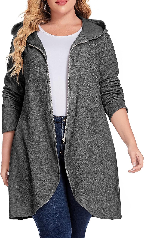 IN'VOLAND Women's Plus Size Zip up Fleece Hoodies Long Outerwear Jacket Oversize Sweatshirts with Pockets