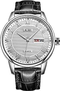 Classic día y Fecha Unisex Reloj con números Romanos y Negro Dial de Banda marrón