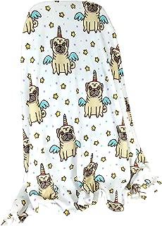 Warm & Snuggly Unipug Unicorn Pug Dog Throw Blanket 50x60