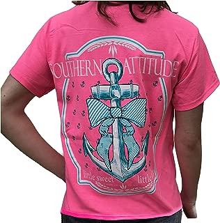 Southern Attitude Bow Anchor Pink Preppy Short Sleeve Shirt